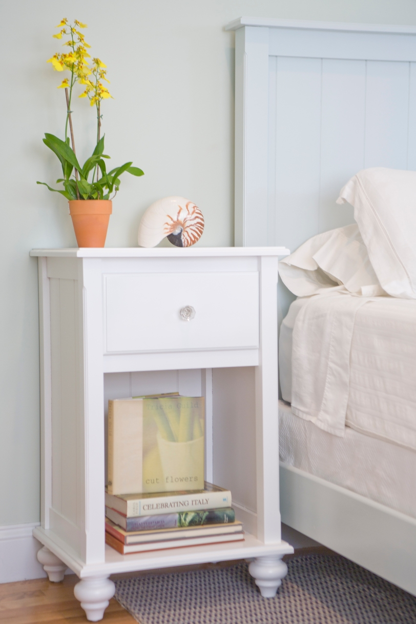 The bun feet are charming on this bedside table